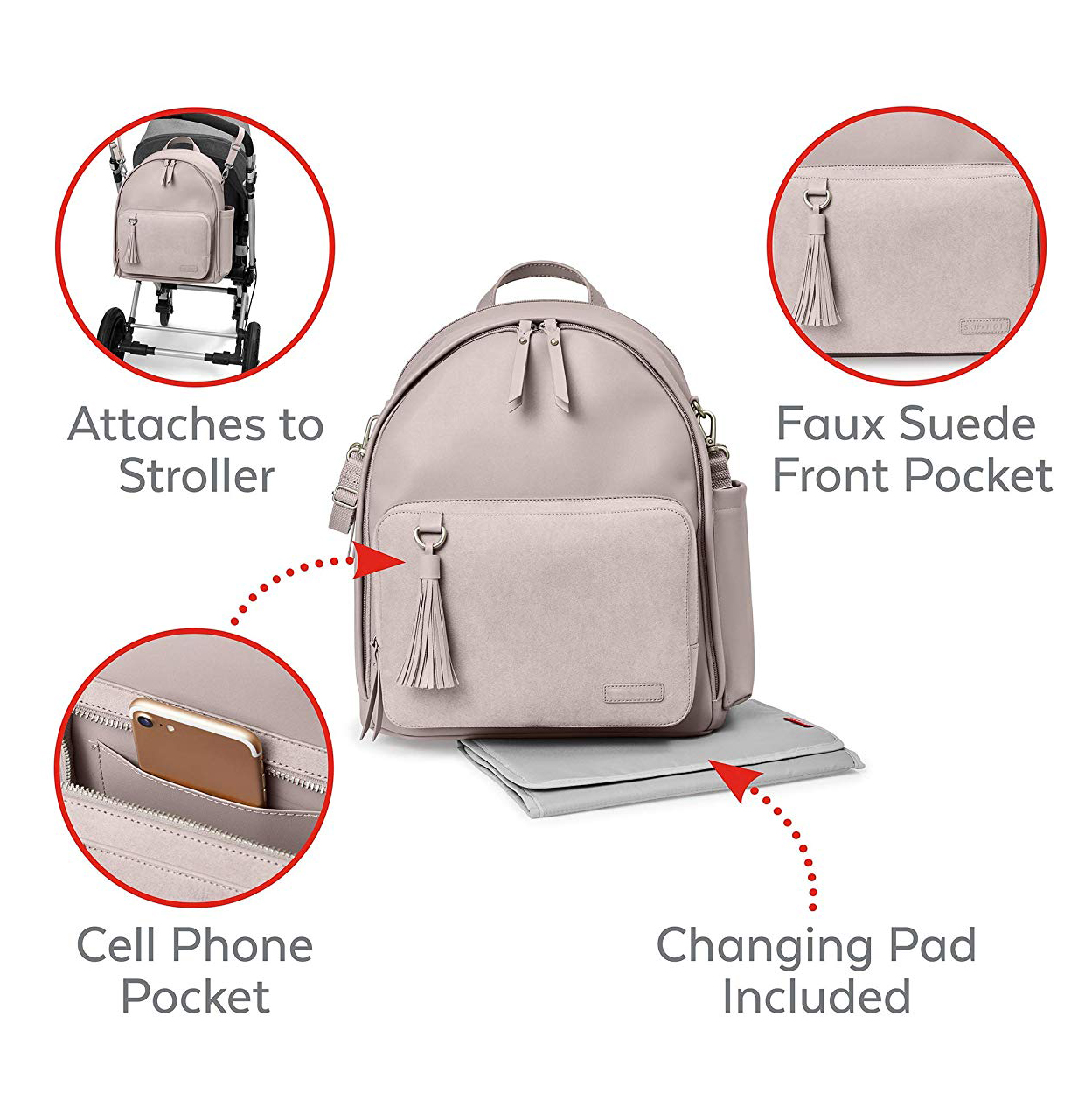 Travel Mummy PU Leather Backpack Baby Diaper Bag