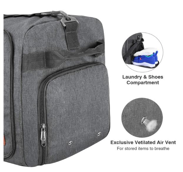 Travel Duffel Bag Foldable Weekender Bag With Shoes Compartment