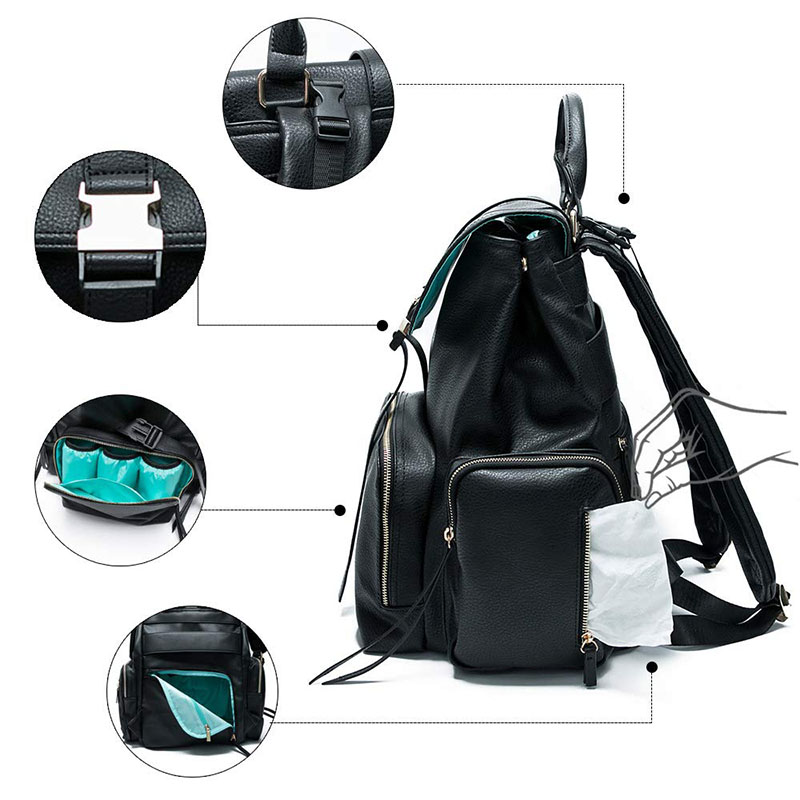 Leather Diaper Backpack with 15 Pockets